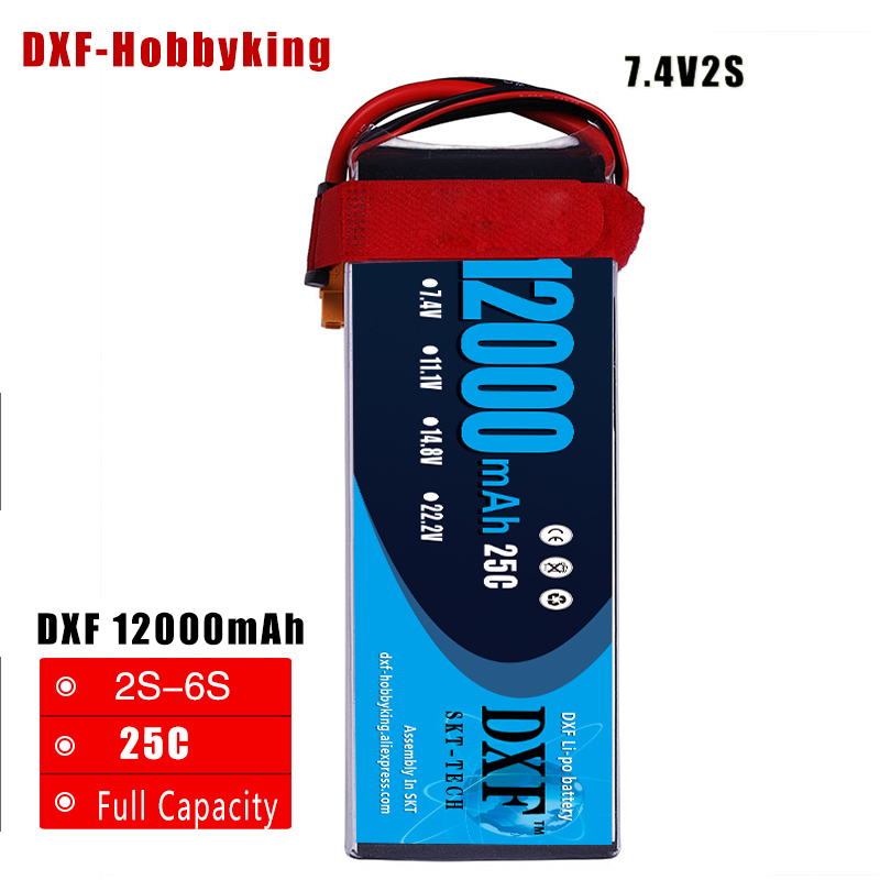 2017 DXF Good Quality RC Lipo Battery 12000mAh 7.4V 2S 25C 60C Li-polymer Bateria For RC Helicopter Drone FPV UAV Car Boat Drone image