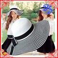 Мода Женщины Девушки Бумаги Соломы Summer Sun Hat Широкими Полями Солнцезащитный Крем Полоса Соломенная Шляпа С Бантом Леди Богемный Пляж Шляпа