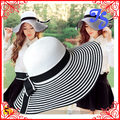 Fashion Women Girls Paper Straw Summer Sun Hat  Wide Brim Sunscreen Stripe Straw Hat With Bowknot Lady Bohemian Beach Hat