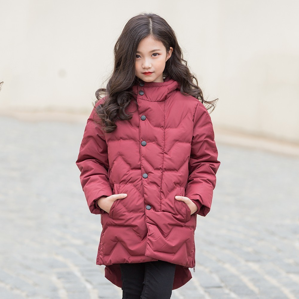 Christmas Toddler Girl Coat Winter Clothing Cotton Padded Warm Red Hooded Long Winter Coat For Teenagers Girl Clothes Outerwear christmas cotton padded parkas teen winter coat girl long red pink black hooded warm winter jacket for girl 6 years 8 10 12 14