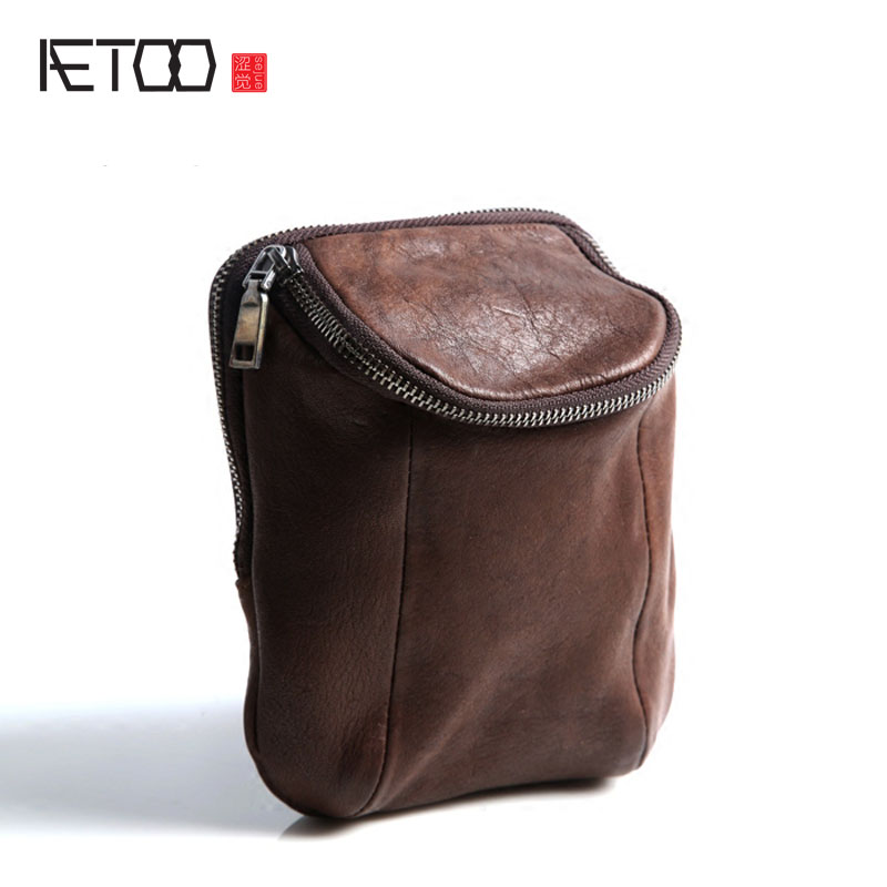 AETOO Pure Leather Kingdom Pure Leather Men 's Pockets Leather Fashion Portable Package Europe And The United States Japan And S