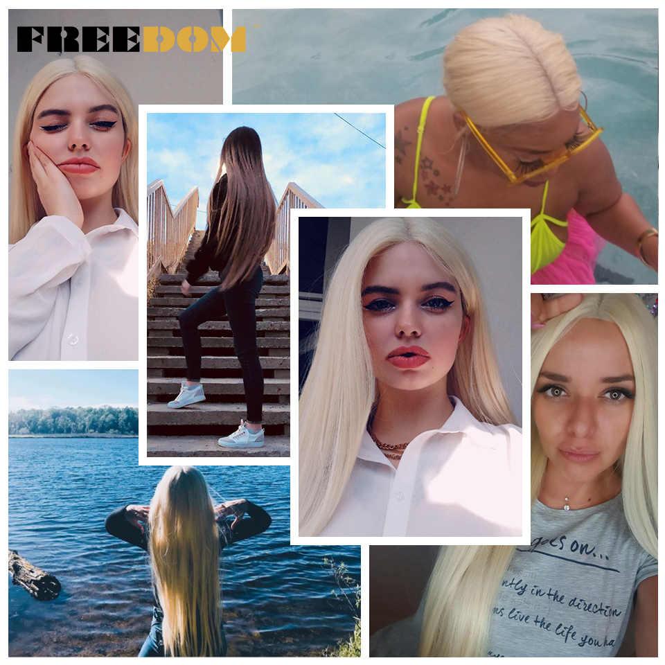 ÖZGÜRLÜK Sentetik Dantel ön peruk Siyah Kadınlar Için Süper Uzun 38 Inç Ombre Sarışın 3 Renk Doğal Düz Saç Peruk Cosplay peruk