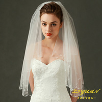 Ivory Short Bride Veil Two Layer Floral Pearl Wedding Veil With Comb Elbow Length Veil Luxury Simple Bridal Veil LT049