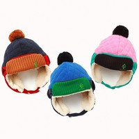 Quality Baby And Kids Winter Hat With Fur Earflap Boy And Girls Thick Hat With Pom