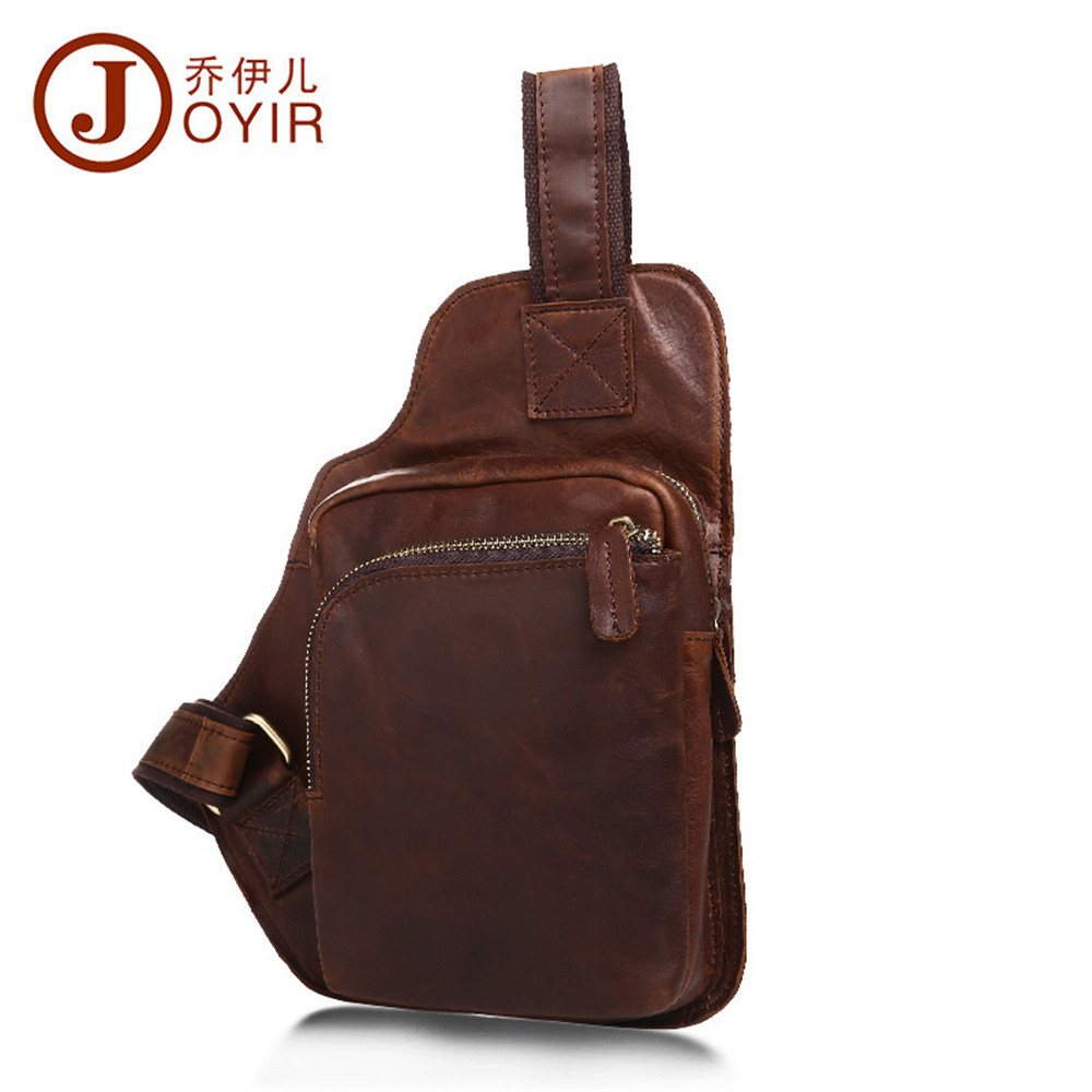 JOYIR Vintage men chest pack crazy horse leather crossbody chest bag small shoulder pack for male casual pack belt bag man bag