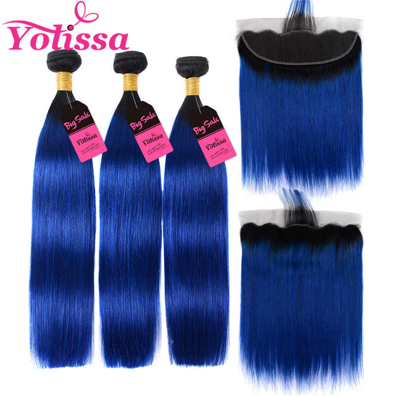 Yolissa 1B/Blue Straight Bundles With Frontal Brazilian Ombre Bundles With Frontal 4pcs/lot Remy Hair Extension