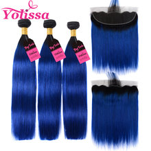 Yolissa 1B/Blue Straight Bundles With Frontal Brazilian Ombre Bundles With Frontal 4pcs/lot Remy Hair Extension(China)