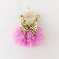 Filles paillettes parti princesse robe fille dos nu robes filles papillon d'été de soirée robe enfants tutu robes pourpres