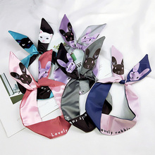 Neckerchief Feel Head Neck Scarf New Elegant Women Skinny Cartoon Animals Print Hair Tie Band Small Fashion Cute