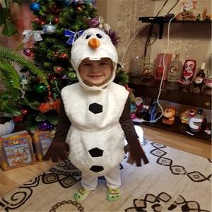 Image 1 - Роскошный плюшевый восхитительный Детский карнавальный костюм на Хэллоуин для малышей, Детские вечерние платья с героями мультфильмов и снеговиком
