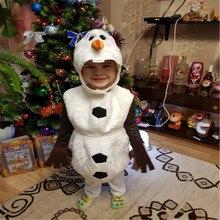 Deluxe peluş sevimli çocuk cadılar bayramı Cosplay kostüm yürümeye başlayan çocuklar için favori karikatür film kardan adam parti elbise