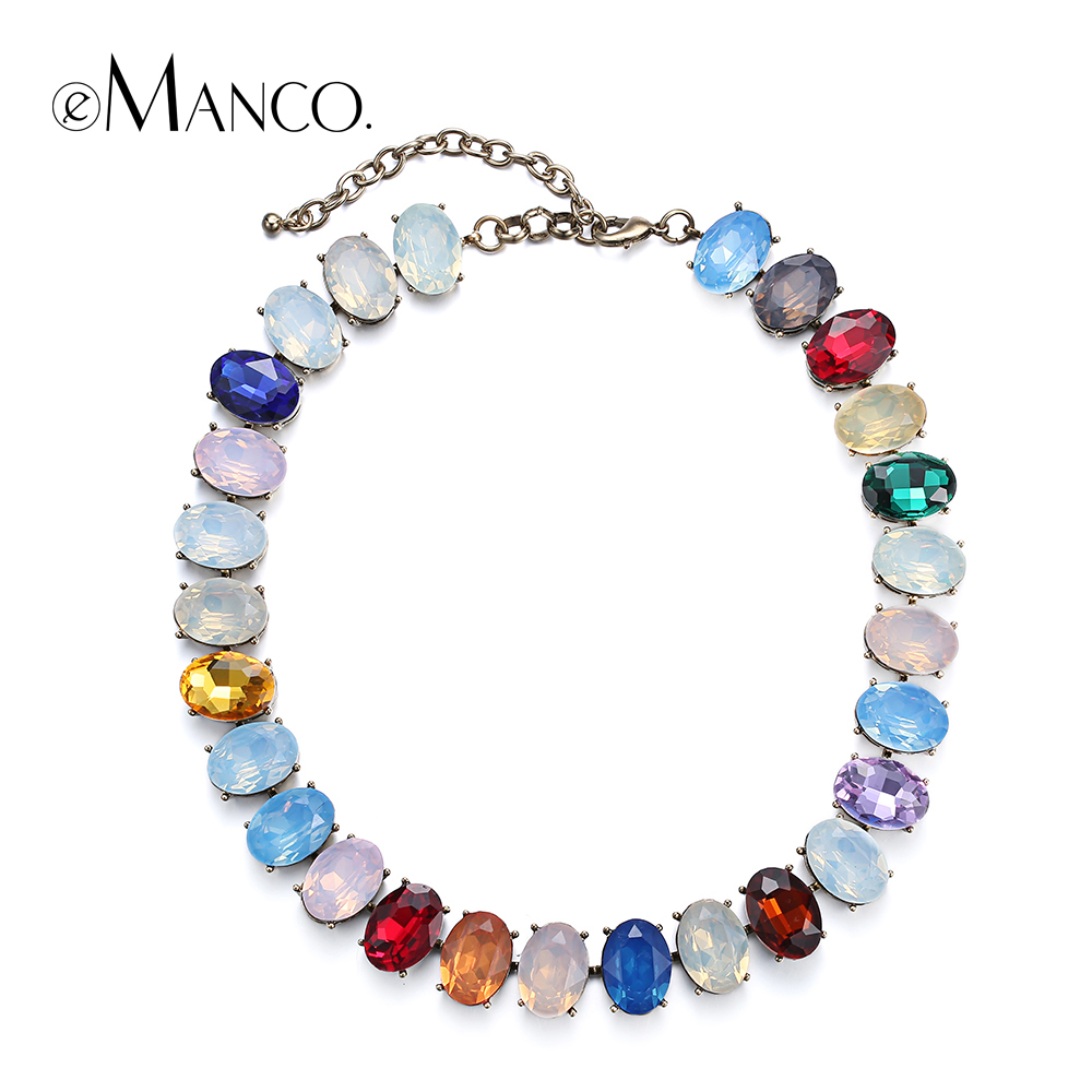 eManco Girls Pink Charming Choker Necklaces Titanium Colorful Crystal Zinc Alloy Necklace Summer Jewelry Women 2018 charming multilayered geometric choker necklace for women