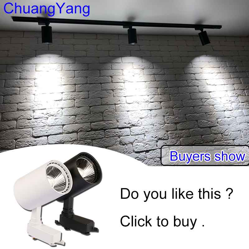 12W 20W 30W COB LED Track Light Spot Light  Ceiling Mounted Rail Track Lamp Decorative Led spotlight Track Lighting for Shop(China)