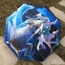 Steinbock Konstellation Ölgemälde regen Regenschirm 2016 neue kreative unisex 3 Folding Art Abstrait Malerei Regen Regenschirm