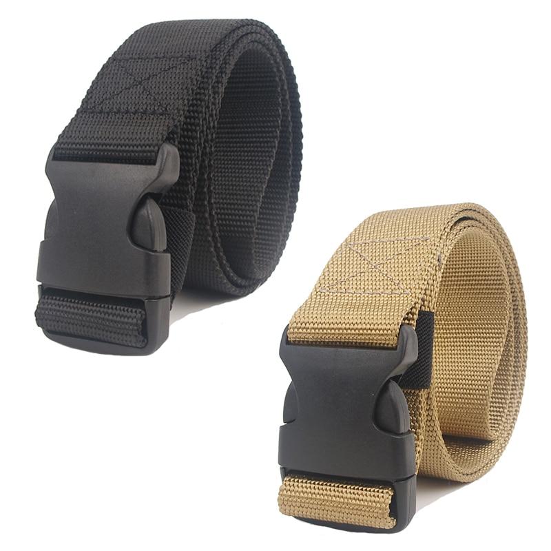 Men's Survival Nylon   Belt   Military Tactical   Belts   Simple Automatic Buckle Plastic Jeans Black Waist   Belt   Equipment 110-120cm