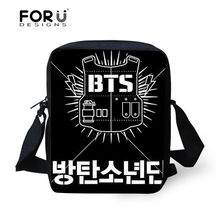 aa60d2e64fe5b FORUDESIGNS BTS K-pop Baskı Kore Tarzı omuz çantaları Kadınlar için 2018  Rahat Crossbody Çanta Kız Moda Kadın postacı çantası