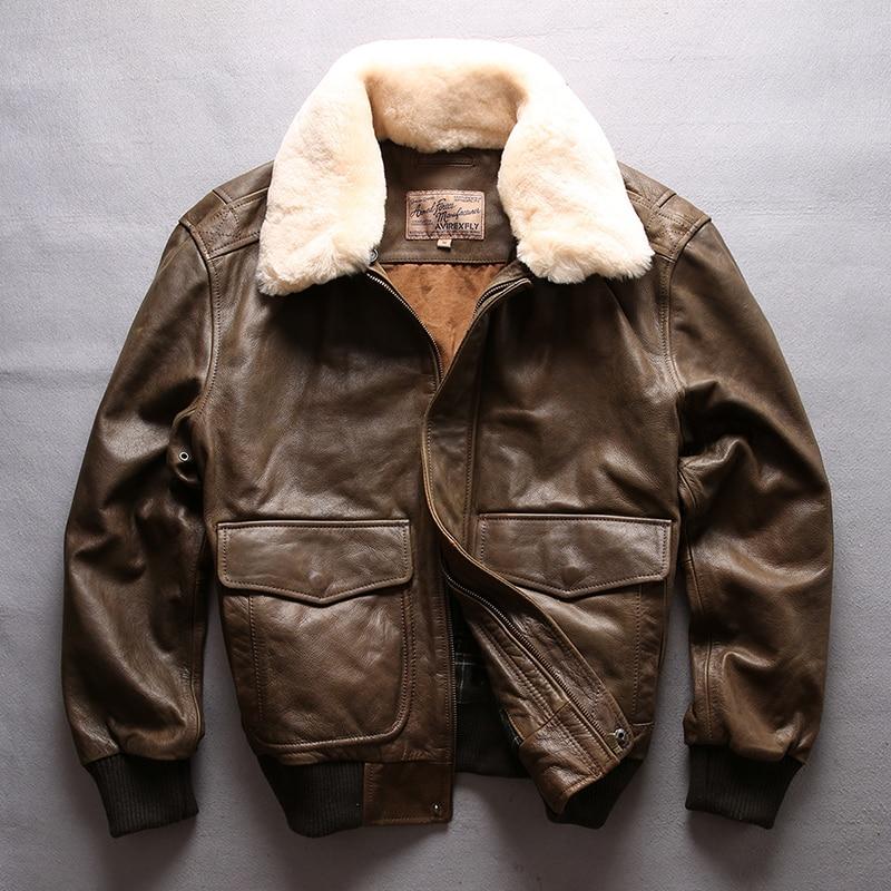HTB13MqvlyQnBKNjSZFmq6AApVXaV AVIREX FLY 2018 Genuine Leather jacket Men Bomber Jacket Fur Collar Cowskin Short Air Force Flight Jacke Vintage Winter Coat