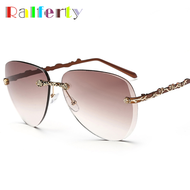 Ralferty Elegant Ladies Pilot Sunglasses Women Aviation Brand Designer Gradient Sun Glasses Female UV400 Shades Oval Oculos 937