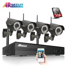 1TB HDD 4CH Wireless NVR CCTV System 960P HD Varifocal 2.8-12mmIR Outdoor WIFI IP Camera Home Security Surveillance Camera Set