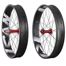 Carbon fat bike 26er carbon wheels 90mm width tubeless ready carbon snow bike wheelseet with logos 197/190X12 135x15 150x15 FW90 цена