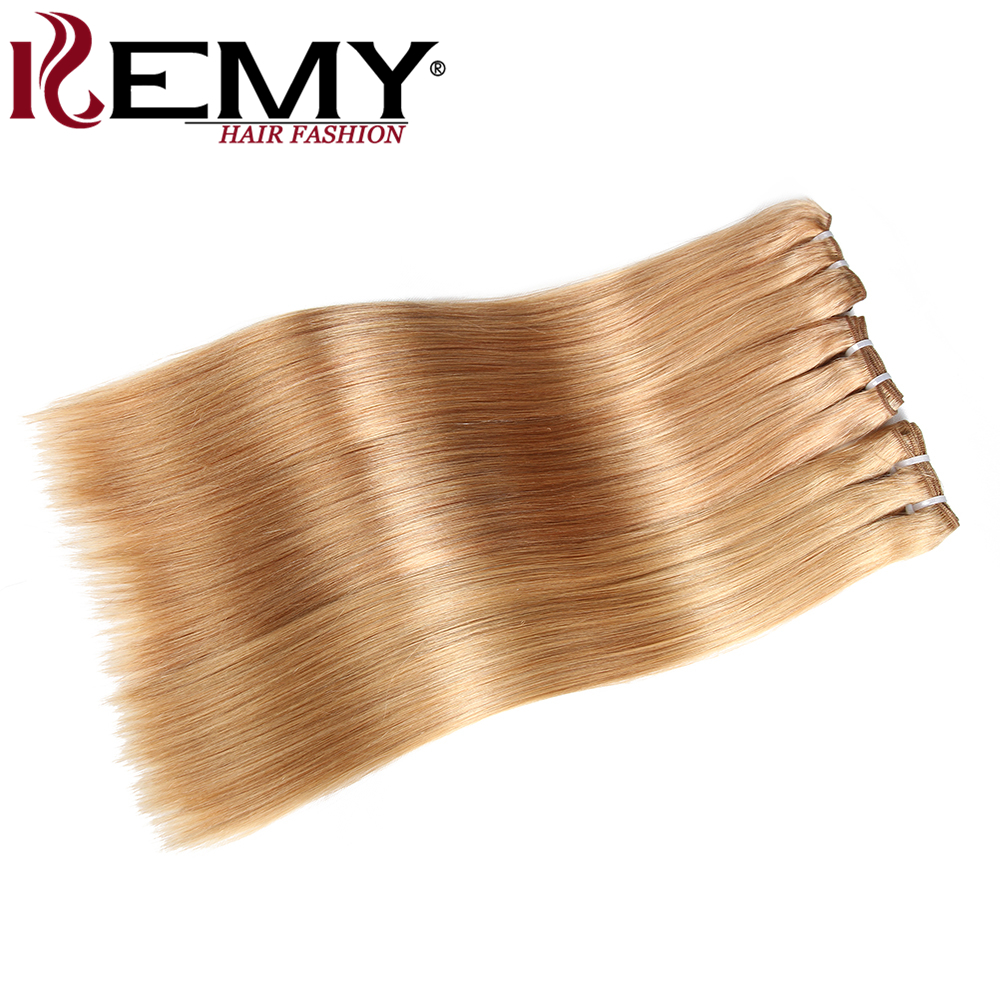 KEMY HAIR FASHION Pre-Colored Human Hair Bundle Deals 2/3Pcs Remy Yaki Straight Brazilian Blonde Hair Weave Bundles 8-22 Inch