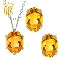 GemStoneKing 2.45 Ct Oval Yellow Citrine Gemstone Women's Jewelry Sets 925 Sterling Silver Pendant Earrings Set