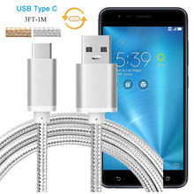 Nylon USB Type C Lader Kabel voor Asus ZenFone 3 Zoom ZE553KL, AR ZS571KL, 3 ZE552KL USB 3.1 Type C Data Sync Oplaadkabel(China)