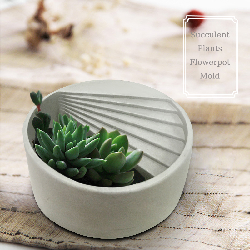 Round Succulent Plants Silicone Concrete Molds Stairs Shape Flowerpot Cement Clay Mould Mini Pot Gypsum Plaster Crafts Mold