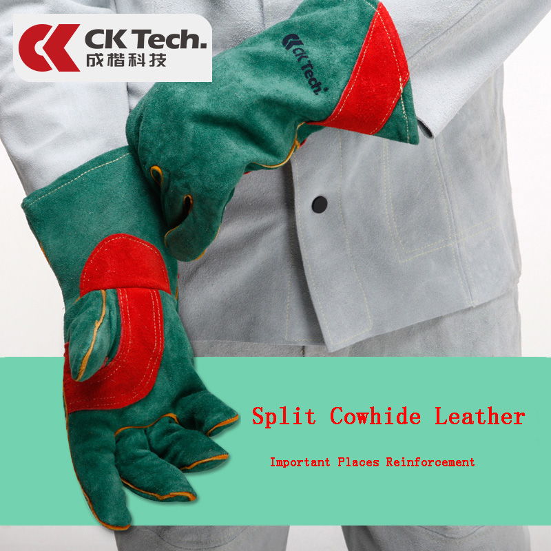 CK Tech. Green Welders Gloves Cow Split Leather Thickened Fireproof Welding Work Security Protection Gloves Heat Resistant