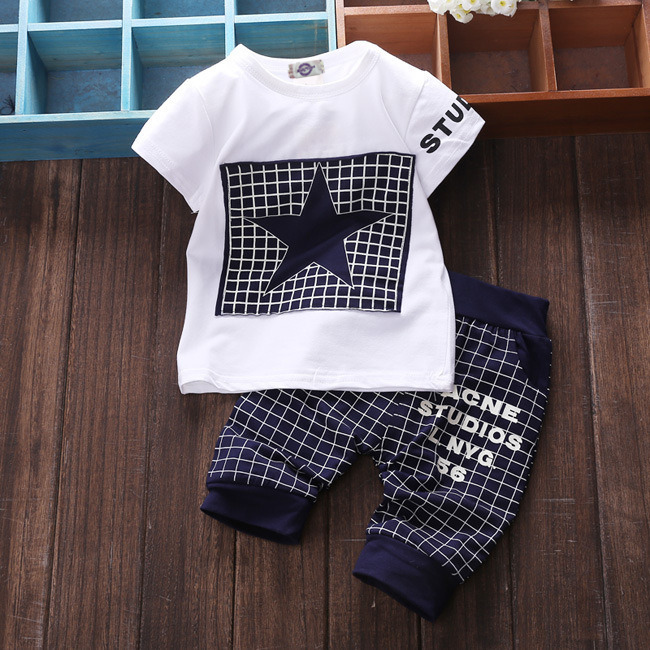 Baby boy clothes 2017summer children's clothing sets T-shirt+pants suit clothing set Star Print Clothing newborn tracksuit SY118 baby boy clothes 2016 summer kids clothes sets t shirt pants suit clothing set glasses printed clothes newborn