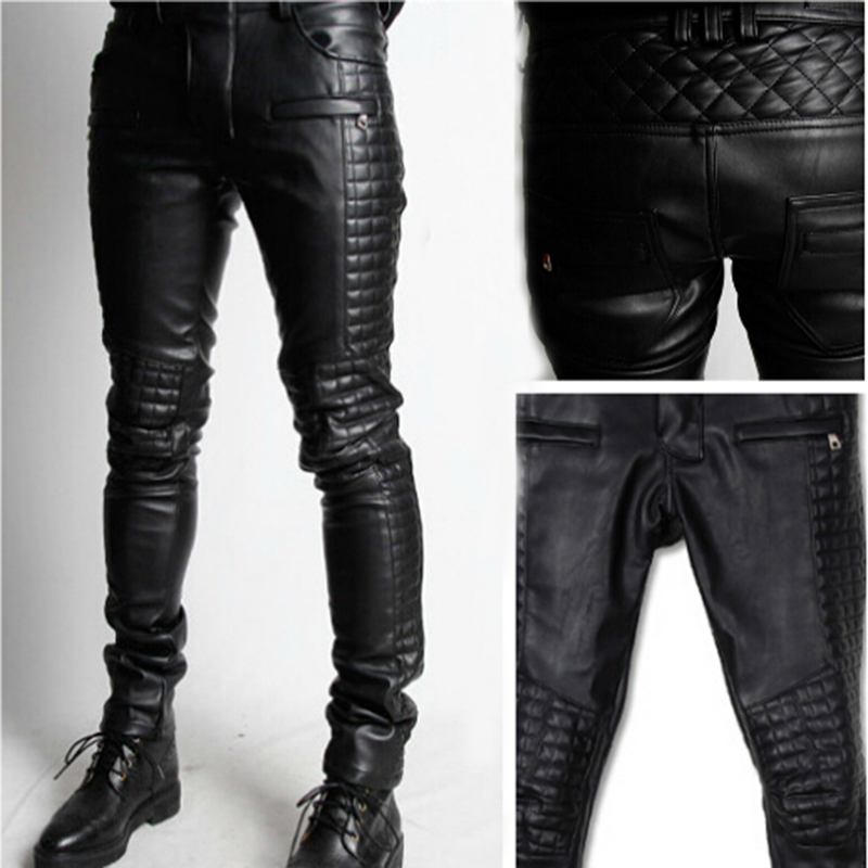 Men's Motorcycle Bootcut Leather Pant 2016 Novelty Fashion ...