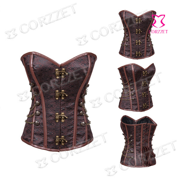 Latex Brown Brocade Vintage Steel Boned Sexy Corset Steampunk Overbust Waist Trainer Corsets Women Gothic Corpete Corselet Top