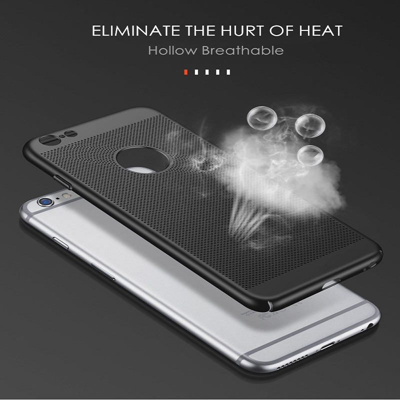 Phone Case shockproof Ultra Slim For iPhone 6 6s 7 8 Plus X S MAX Hollow Heat Dissipation Cases Hard PC in Half wrapped Cases from Cellphones Telecommunications