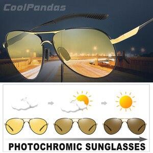 Image 1 - Unisex Luchtvaart Rijden Meekleurende Zonnebril Vrouwen Hd Gepolariseerde Geel Lens Chameleon Zonnebril Mannen Oculos Auto Accessoires