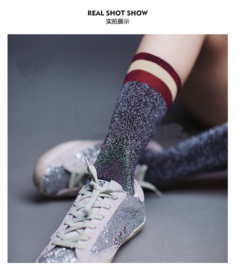 1 Pair Hot Sale 2018 Shiny Long Socks Autumn and Spring New Fashion Glitter silver Flanging color stripe Wild In Tube Socks ...