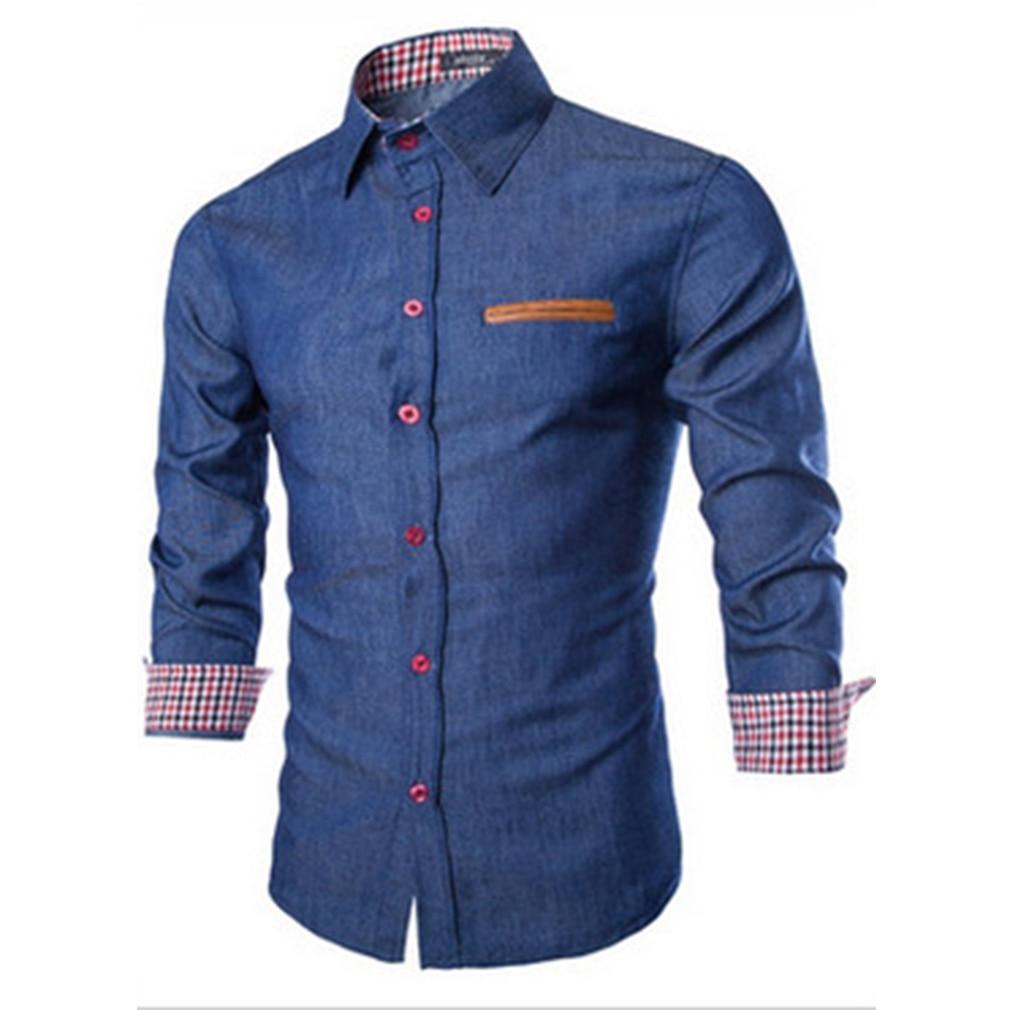 Men's Denim Shirts Cowboy Shirt Casual Long Sleeves Slim Fit Shirt Autumn Stylish Male Denims Jeans Shirt Tops Size S-XXL