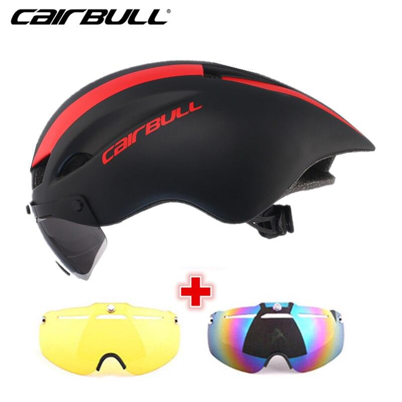 3 Lens 300g Aero Cycling Helmet Road Bike Sports Safety Riding Helmet Magnetic Goggles Pneumatic TT