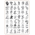 Nail Art Template Cartoon Characters Mouse Dog Duck Rabbit Stainless Steel Stamping Templates Rectangle Nail Stamp Plate OS-01