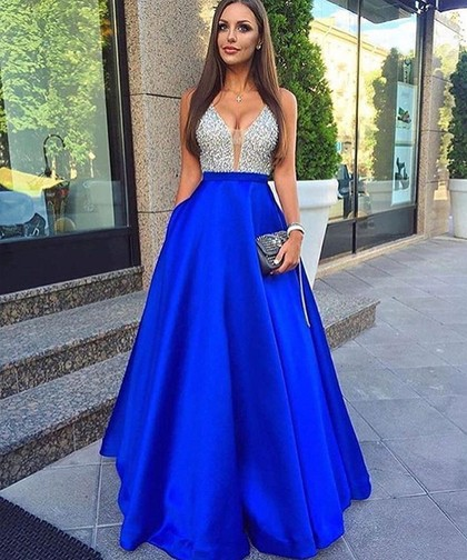 Royal Blue Robe De Soiree 2019 A-line Deep V-neck Tulle Beaded Crystals Sexy Long Party   Prom     Dresses     Prom   Gown Evening   Dresses