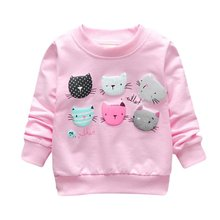 Newest Cartoon Print Girls Sweatshirts Spring Casual Kids Clothes Long Sleeve Baby Girl Pullover Girls Clothing