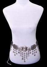 Idealway Sexy Tibetan Silver Tassel Coin Belly Chains Women Boho Belt Dance Waist Chain Gypsy Turkish Metal Body Chain Jewelry