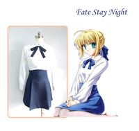 Full Set Fate Stay Night Saber Suit Cosplay Haloween Costume For Women Anime Harajuku Vestidos Disfraces