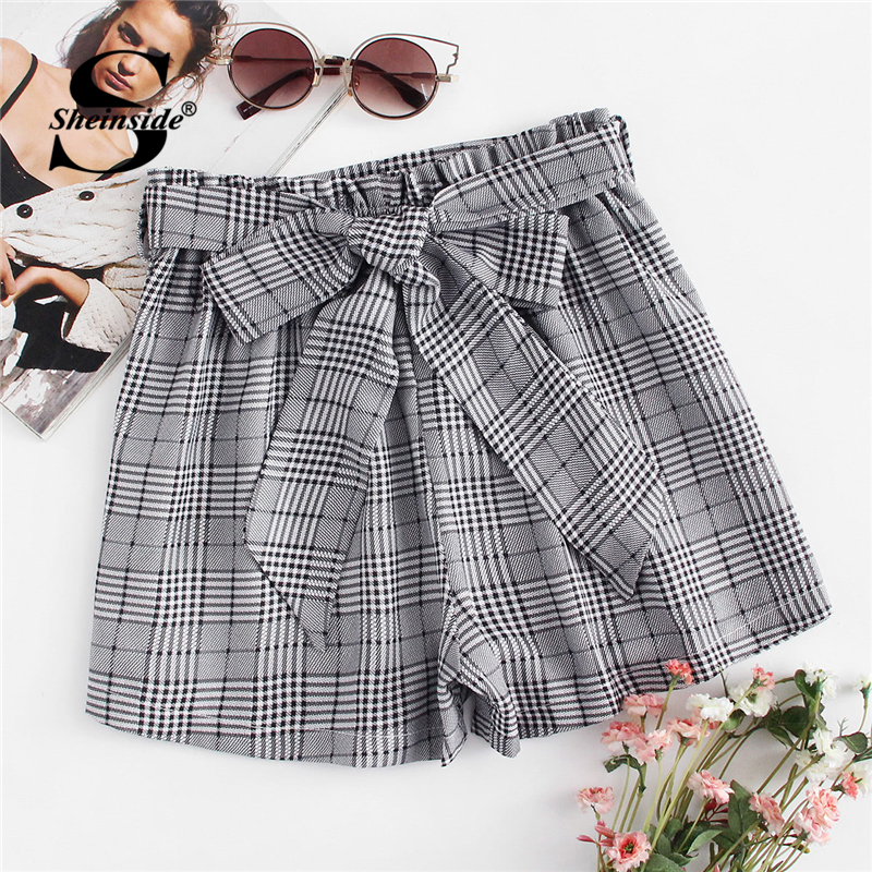 Sheinside Self Tie Waist Plaid Shorts Summer Mid Waist Straight Leg Shorts Women Elastic Waist Office Ladies Elegant Shorts