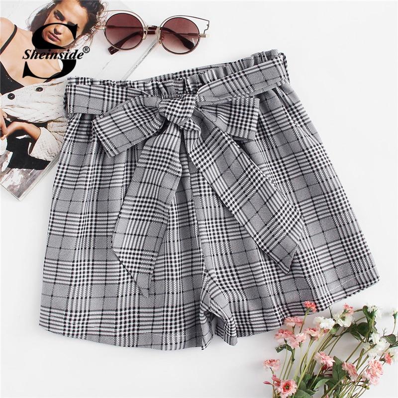 Sheinside Self Tie Waist Plaid   Shorts   2018 Summer Mid Waist Straight Leg   Shorts   Women Elastic Waist Office Ladies Elegant   Shorts