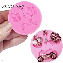 1Pcs Love lock key motorcycle fondant silicone mold for cake decorating tools cooking Sugarcraft Baking Accessories D0437