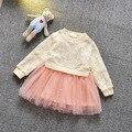 2016 spring & autumn meninas recém-nascidas malha vestido de emenda meninas outfits roupas de batismo do bebê vestido para festa longo flor de manga
