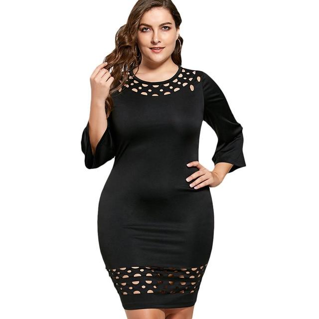 ae28e99b2fc Gamiss плюс Размеры 5XL ажурной вставкой Встроенная оболочка Платье черного  цвета Повседневное Для женщин осень Экипаж