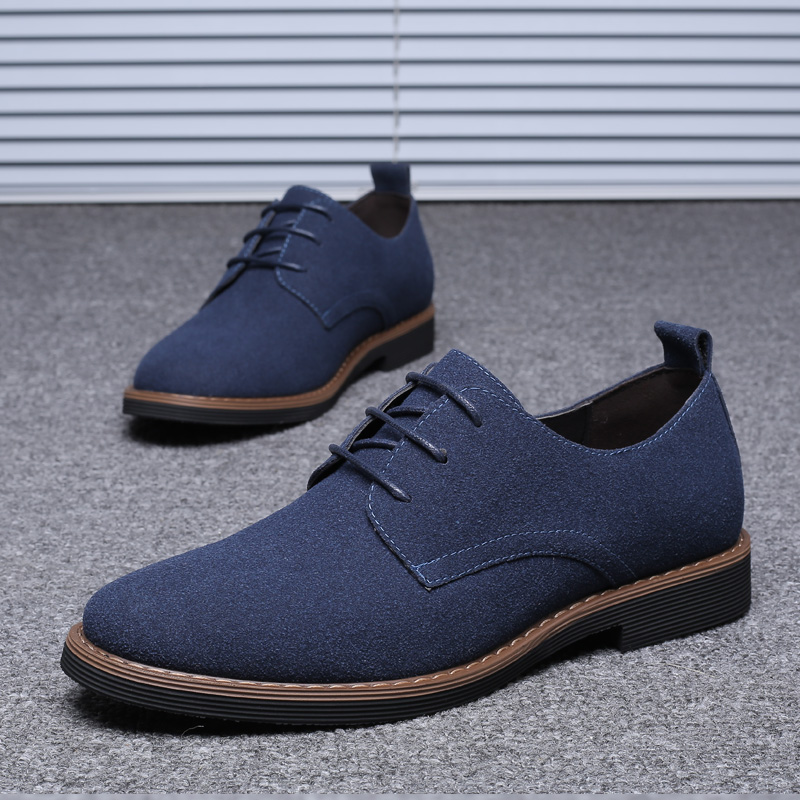 HTB13MsuNNTpK1RjSZFKq6y2wXXaB High Quality Suede Leather Soft Shoes Men Loafers Oxfords Casual Male Formal Shoes Spring Lace-Up Style Men's Shoes