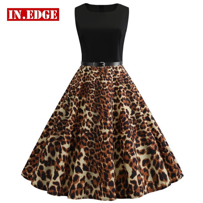 Élégant Patchwork léopard imprimé Animal longue ligne robes sans manches Sexy noir plage fête Tunik Robe mi-longue en cuir ceinture