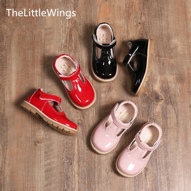 TheLittleWings Autumn Fashion kids shoes cute flat girls princess casual Liang Pi shoes Korean version of the British style Girl's Shoes